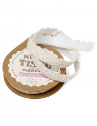 Fita adesiva de tecido de renda cor-de-marfim