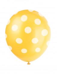 6 balões amarelos ás pintas brancas