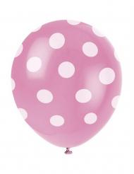 6 balões cor de rosa ás pintas brancas
