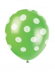 6 balões verdes as pintas brancas