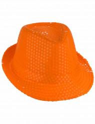 Chapéu de lantejoulas cor de laranja adulto