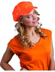 Boina de lantejoulas cor de laranja