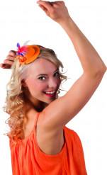 Mini chapéu cor de laranja com penas adulto