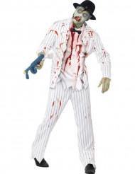 Disfarce gangster branco zombie homem Halloween