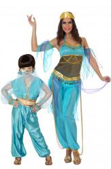 Disfarce de casal dançarinas orientais azuis Mãe e filha