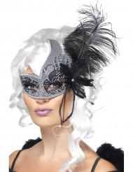 Máscara veneziana anjo preto com grande pena preta adulto