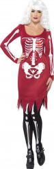 Disfarce esquelto vermelho mulher Halloween