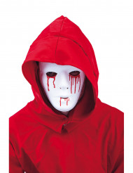 Máscara lagrimas ensanguentado homem
