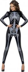 Disfarce esqueleto preto sexy mulher Halloween