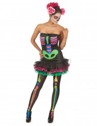 Disfarce de esqueleto colorido mulher halloween