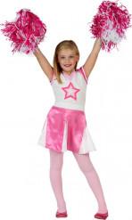 Disfarce pompom girl cor-de-rosa menina