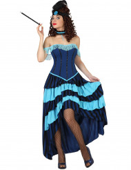 Disfarce de cabaret anos 20 azul mulher