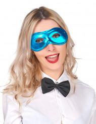 Máscara metalizado azul adulto