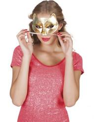 Máscara gato dourado adulto