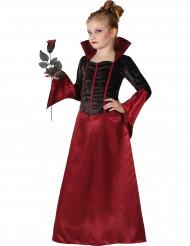 Disfarce vampiro vermelho e preto menina Halloween
