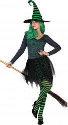 Disfarce bruxa teia de aranha verde mulher Halloween
