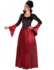 Disfarce vampiro vermelho e preto mulher