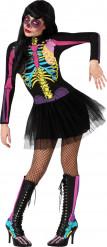 Disfarce esqueleto colorido tutu mulher Halloween