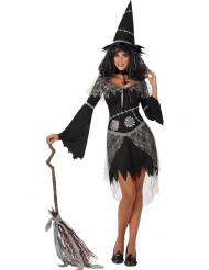 Disfarce bruxa cinzenta e preta mulher Halloween