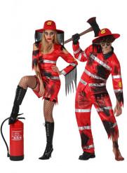 Disfarce de casaco Bombeiros zombies Halloween