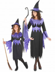 Disfarce de casal bruxa lilás mãe e filha Halloween