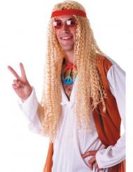 Peruca hippie comprida loira adulto