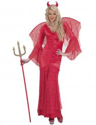 Disfarce diabo renda vermelha mulher Halloween
