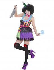 Disfarce palhaço assustador várias cores mulher Halloween