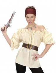 Camisa bege pirata mulher