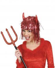 Peruca metálica diabo vermelho adulto Halloween