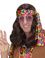 Peruca castanha hippie adulto