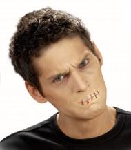 Falsa ferida boca cosida adulto Halloween