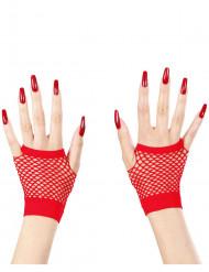 Miténes curtas vermelhas de rede adulto