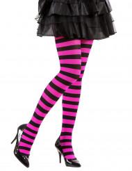Meia calça as riscas preto e rosa adulto