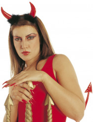 Cornos de diabo vermelho adulto Halloween