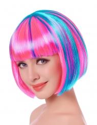 Peruca curta com medeixas multicores rosa e azul mulher