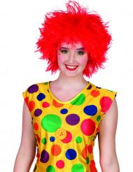 Peruca palhaço colorido vermelha mulher