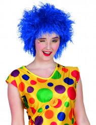 Peruca palhaço colorido azul mulher