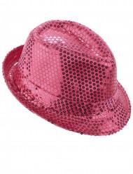 Chapéu borsalino brilhante lantejoulas rosa adulto