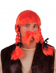 Peruca gaulês cor de laranja adulto