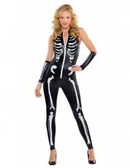 Disfarce esqueleto sey mulher Halloween