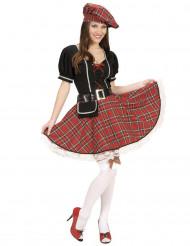 Disfarce escocês ao xadrez vermelho mulher
