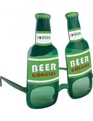 Óculos garrafa de cerveja verdes adulto