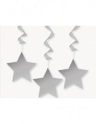 3 decorações a suspender com estrelas  cinzentas