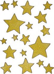 Decorações para janelas estrelas douradas Natal