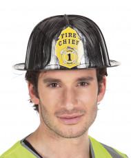 Capacete de bombeiro preto adulto