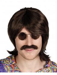 Peruca e bigode castanho homem