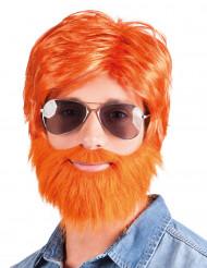 Peruca com barba e bigode ruivo homem