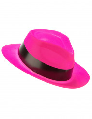 Chapéu gangster cor-de-rosa fluo adulto