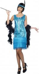 Disfarce cabaret anos 20 azul mulher